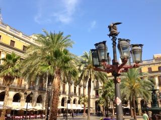 Gaudí lampposts in Plaça Reial