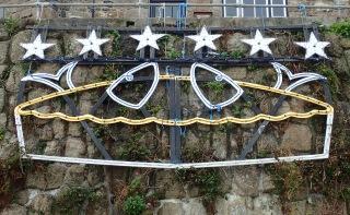 Stargazy pie Christmas lights, Cornwall